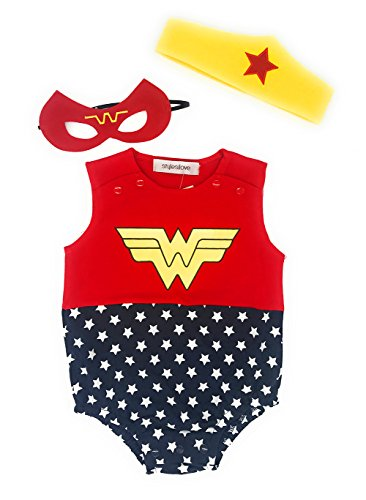 Superhero Outfit (StylesILove Baby Girl Super Hero Inspired Costume Jumpsuit 3 pcs Outfit (80/6-12 Months))