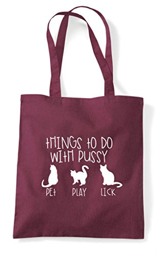 With Cheeky Things Do Tote To Burgundy Bag Funny Pussy Shopper qwaIxECa