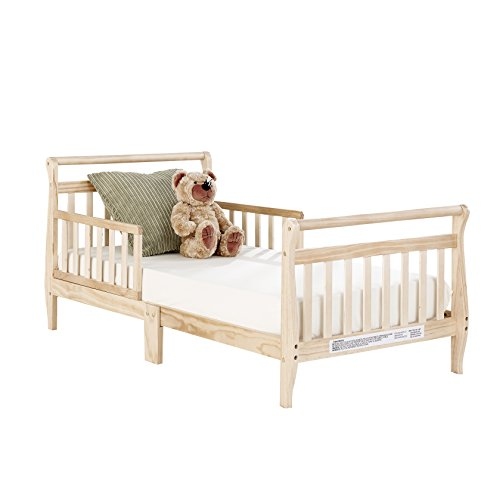 Cherry Bed Natural (Big Oshi Classic Design Sleigh Toddler Bed - Sturdy Wooden Frame for Extra Safety - Modern Slat Design is Great for Boys and Girls - Low to Ground - Full Bed Frame With Headboard, in Natural)