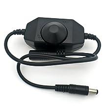 Mr.Geeker DC 12-24V Inline Single Color LED PWM Dimmer Switch for LED Strip Lights (Black)