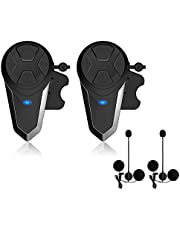 Lemnoi BT-S3 Intercomunicador Casco Moto, Intercomunicador Bluetooth para Moto Manos Libres Radio FM, Gama Comunicación Intercom de 1000m, Impermeabilidad
