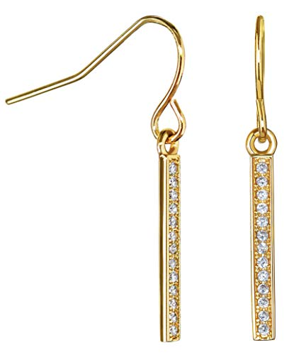 Gold Earrings for Women: Dangle Earrings Drop Earrings 14k Dipped with CZ Vertical Bar Jewelry for Women Girls Teens Geometric Trendy Modern Dangling Fashion Earrings