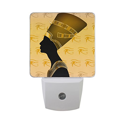 - Naanle Set of 2 Gold Accent Egyptian Queen Silhouette Golden Jewel Precious Stone All Seeing Eye of Horus Omniscience Providence Auto Sensor LED Dusk to Dawn Night Light Plug in Indoor for Adults
