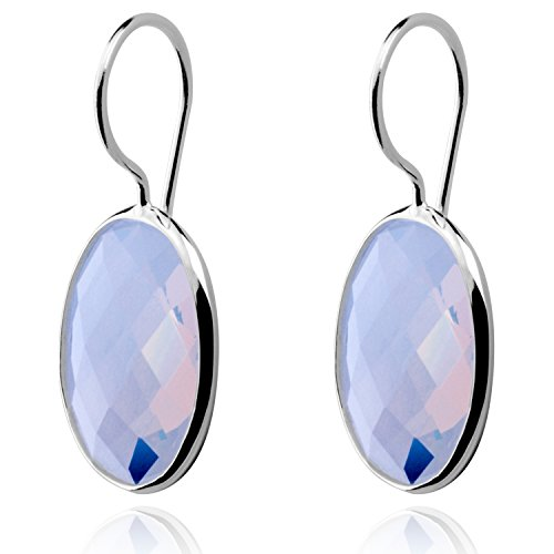 Classic Water Drop Sky Blue Agate Earrings Solid MetJakt 925 Sterling Silver Earring for Lady Wedding Party Fine Jewelry (Moonstone Color) (Diamond Earrings Moonstone)