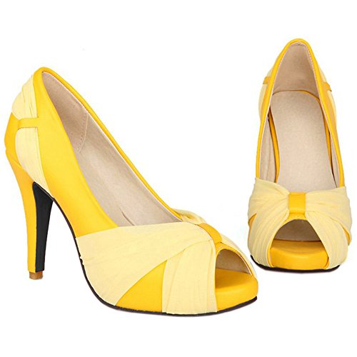 COOLCEPT Women Fashion Stiletto Pumps Slip on Wedding 8 Colors Mesh Shoes Size US2-10.5 Yellow rn6Ys