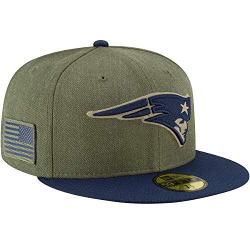 New Era Fitted 5950 Cap - New Era 59Fifty Hat New England Patriots On-Field Salute to Service Green Fitted Cap (7 3/8)