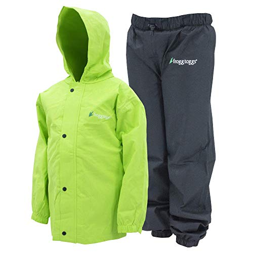 Frogg Toggs Polly Woggs Waterproof Breathable Rain Suit, Youth, HiVis Green, Size Small