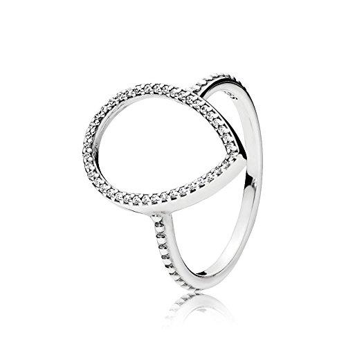 (PANDORA Teardrop Silhouette Ring, Clear CZ 196253CZ-54 EU 7 US)