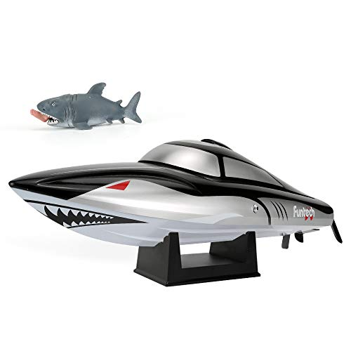 FUNTECH RC Boat Shark Design Super Speed 25MPH(40km/h) with Reverse Function - 2.4 GHz RTR Remote Control Boat with Self-righting Auto Roll Back, Best Gifts for Kids&Adults, Boys& Girls,Black+Silver