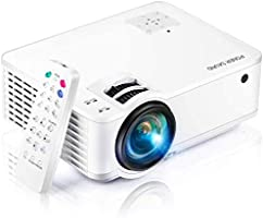 """Projector, [2020 Updated] Mini Projector 1080P Supported, 5500 Lux 210"""" Display with 52,000 Hrs LED Movie Projector..."""