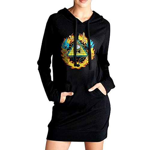 Mabel Sweater Costume (Gravity Falls Bill Cipher Womens Long Sweatshirt Hoodies Coat Black)