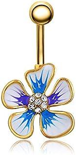 RUBOBUC Bijoux Piercing, Beaux Cubic Zirconia Belly Button Bar Barbell Nombril Anneau Body Piercing Jewelry Beaux Cubic Zirconia Belly Button Bar Barbell Nombril Anneau Body Piercing Jewelry (Or) DQDTUR-P022