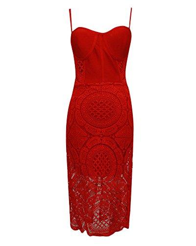 UONBOX Women's Lace Bodycon Midi Bandage Dress With Spaghetti Strap (S, (Lace Bustier Dress)