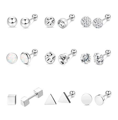 (Hanpabum 9 Pairs Stainless Steel Ball Stud Earrings Barbell CZ Cartilage Helix Ear Piercing Jewelry Set for Men Women)