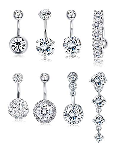 (Yadoca 14G 8 Pcs Stainless Steel Belly Button Rings for Women Girls Body Curved Barbell Dangle Body Piercing Set Navel Bar Rings CZ Silver-Tone Rose Gold)