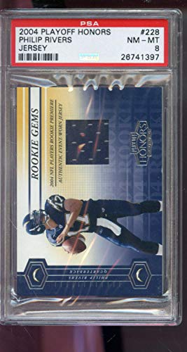 2004 Playoff Honors ROOKIE RC Gems 307/750 Philip Rivers Game-Worn Game-Used Jersey PSA 8 Graded Football Card ()