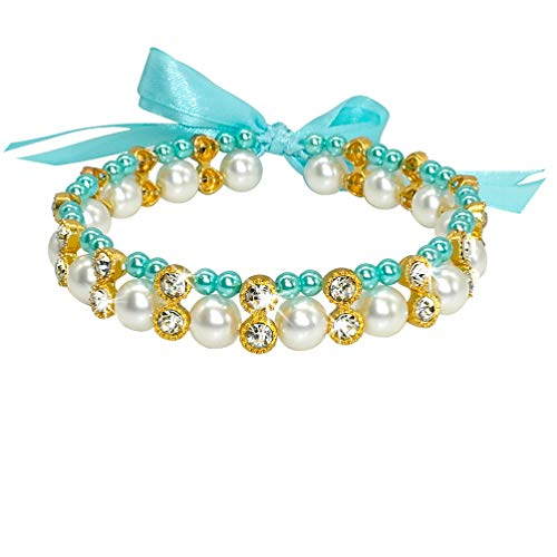 DOILNXH Crystal Pearl Dog Necklace Collar Bowknot Puppy Cat Jewelry Dog Accessories Elastic Pet Pearl Necklace for Small Dogs Chihuahua Blue 29 to 45 cm