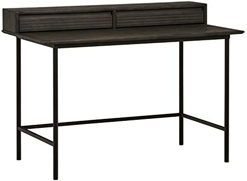 Rivet Stevens Wood and Metal Modern Office Computer Desk, 47.24 W, Brushed Tundra Gray