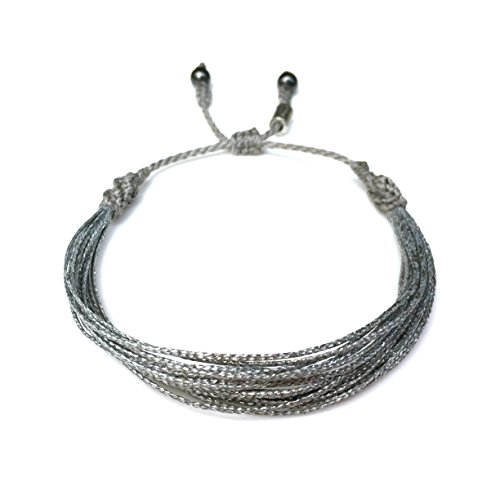 Silver String Bracelet with Hematite Stones: Handmade Awareness Bracelet in Grey/Gray and Silver Cord by Rumi Sumaq