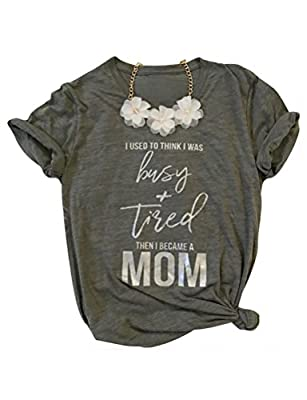 SCX Women Summer Short Sleeve Grey Tees Funny Letter Print Shirts for Mom Tired and Busy Mom T-Shirt
