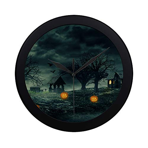 (Modern Simple Halloween Night Pumpkins Haunted House Scary X Pattern Wall Clock Indoor Non-ticking Silent Quartz Quiet Sweep Movement Wall Clcok For Office,bathroom,livingroom Decorative 9.65)
