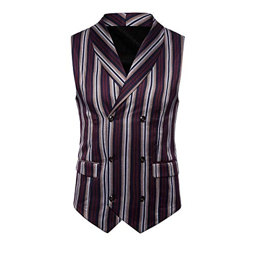 SMALLE ◕‿◕ Clearance,Men Striped Button Casual Print Sleeveless Jacket Coat British Suit Vest Blouse by SMALLE