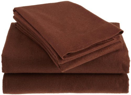Heavy Weight Solid Flannel Full Sheet Set, Chocolate