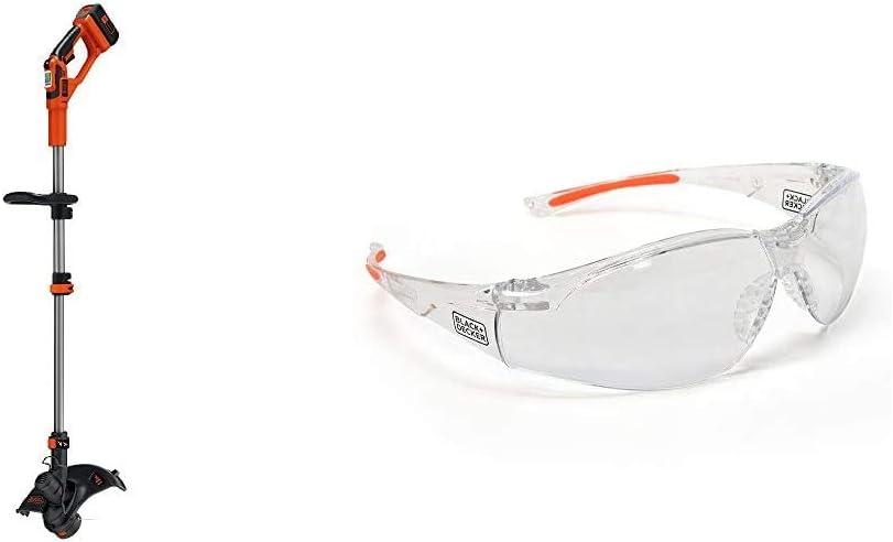BLACK+DECKER 40V MAX String Trimmer/Edger, 13-Inch with Safety Eyewear, Lightweight, Clear Lens (LST136 & BD250-1C)