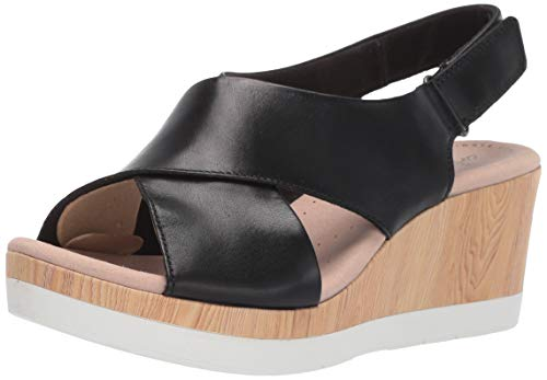 CLARKS Women's Cammy Pearl Wedge Sandal, Black Leather, 075 M US
