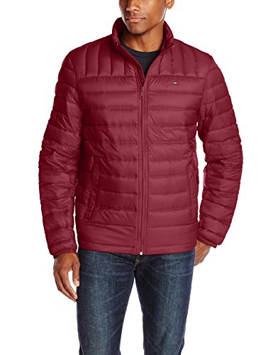 Tommy Hilfiger Men's Packable Down Jacket, Red, Small