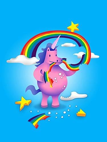 Unicorn Snack Funny Mystical Cartoon - Vinyl Print Poster