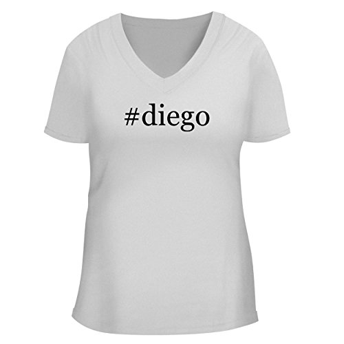 BH Cool Designs #Diego - Cute Women's V Neck Graphic Tee, White, Large