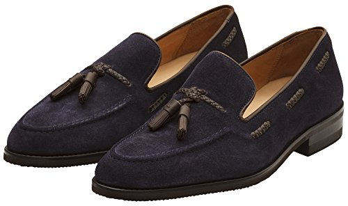 Leather Lined Shoes Tassel Loafer Dapper CeoZhjJkab Men's Navy Genuine Classic Handcrafted Suede Shoes Leather qqU1t