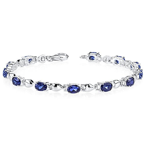 val Shape Created Blue Sapphire Gemstone Bracelet in Sterling Silver Rhodium Nickel Finish (Cheerleading Sterling Silver Bracelets)