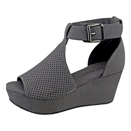 Pierre Dumas Natural-4 Women's Cutout Open-Toe Ankle Strap Platform Wedge Sandals,Gray,6.5 - Gray Wedge
