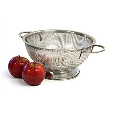 Culina® 3QT Precision Perforation Stainless Steel Colander with Handles and sheet base