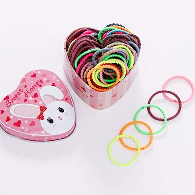 100pcs Cute Box Packed Girls Colorful Basic Rubber Bands Ponytail Holder Elastic Hair Bands Children Scrunchie Hair Accessories]()
