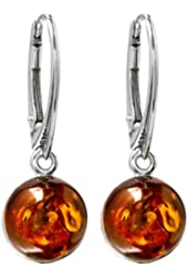 Honey Amber Sterling Silver Round Leverback Earrings
