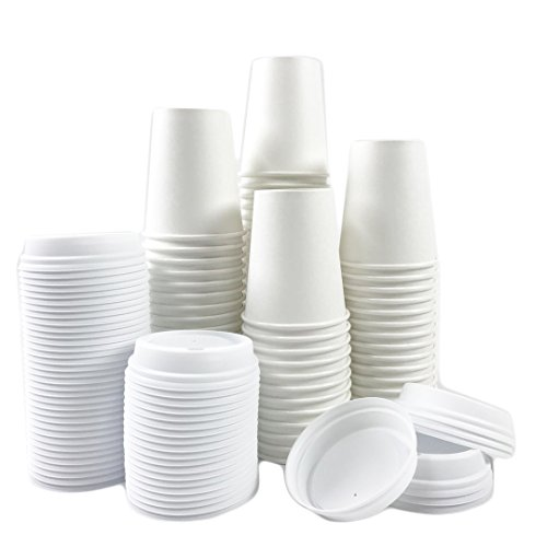 Disposable Cat (Black Cat Avenue 50 Sets 8 oz Disposable Hot White Paper Cups with Lids For Hot Drinks Coffee Cocoa Chocolate Latte Cappuccino)
