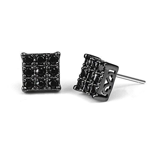 Black Diamond Stud Earring for Men Square Sensitive Ears, 8mm by Bala