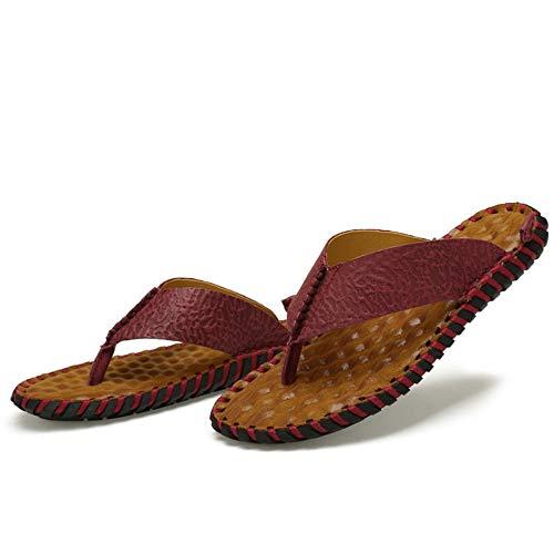 Antideslizantes De Transpirable Wangcui Sandalias Verano Cuero para Vino EU Color De 3 Marrón 2 40 Rojo De tamaño Vino Rojo Color Zapatillas De Playa Zapatillas Hombres rqXX5xZE