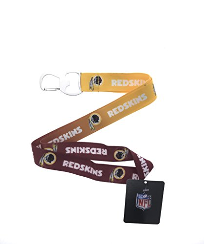 Football Sports Fan Keychain Lanyard with Bottle Opener, Ombre Color (Redskins) -
