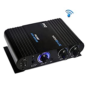 Wireless Bluetooth Home Audio Amplifier - 90W Dual Channel Mini Portable Power Stereo Sound Receiver w/Speaker Selector, RCA, AUX, LED, 12V Adapter - For iPad, iPhone, PA, Studio Use - Pyle PFA330BT