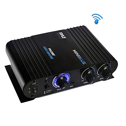 - Wireless Bluetooth Home Audio Amplifier - 90W Dual Channel Mini Portable Power Stereo Sound Receiver w/ Speaker Selector, RCA, AUX, LED, 12V Adapter - For iPad, iPhone, PA, Studio Use - Pyle PFA330BT