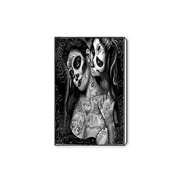 787bd3c6b3a Custom Modern Giclee Canvas Print Wall Art Black and White Art Sugar Skull Flower  Canvas Print
