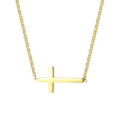 Amazon.com  Pusheng Women Sideways Horizontal Cross Pendant Necklace  Stainless Steel Petite Necklace 5534ea5d11