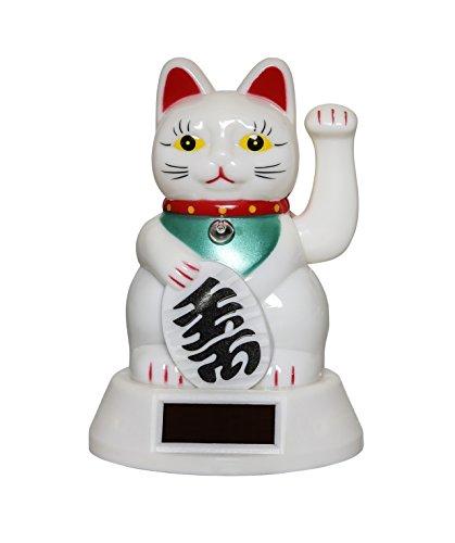 Amlong Plus Japanese Maneki Neko Fortune Cat Lucky Cat Waving Arm, Solar Powered, White