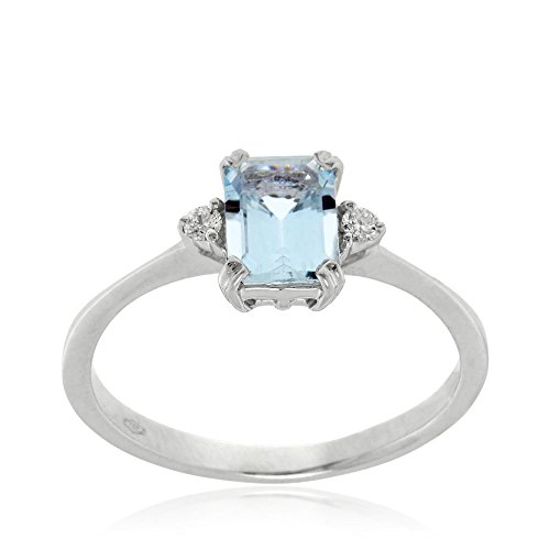 Gioiello Italiano – White gold ring with aquamarine and diamonds