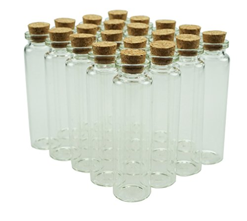 Shxstore 20ml Small Mini Glass Bottles Sample Jars with Cork Stoppers for Art Crafts 086 inch Diameter x 31 inches Tall Pack of 20