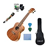 Mahogany Concert Ukulele Starter Kits for Beginner with Tuner, Strap, Padded Bag, Strings